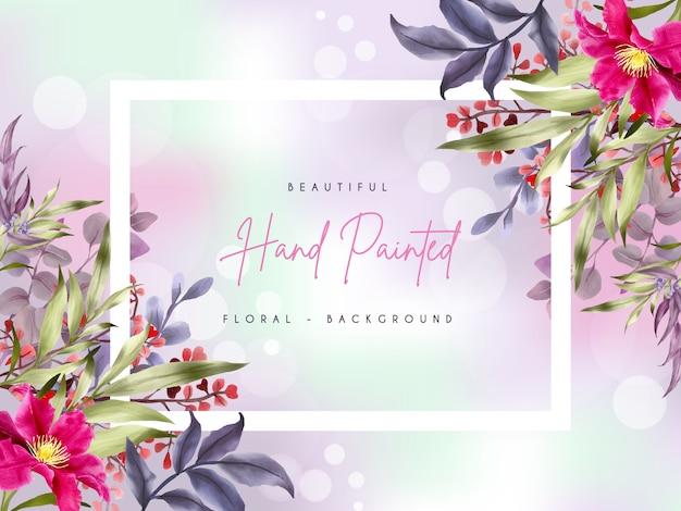 Ręcznie malowane akwarelą z pięknym kwiatem i liśćmi w tle
