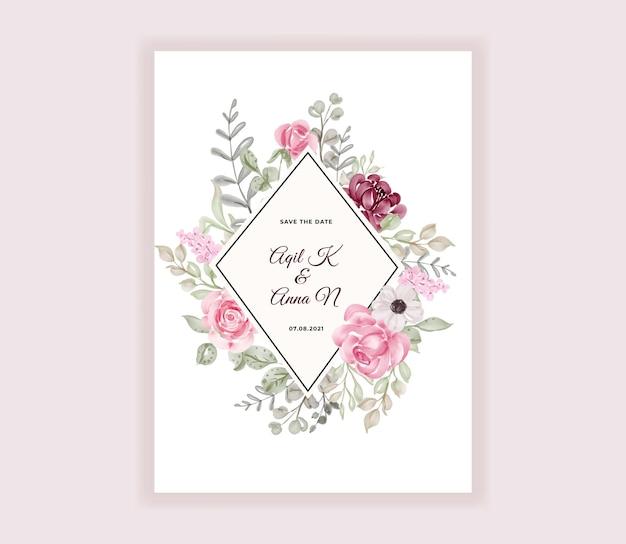 Ręcznie malowane akwarela zaproszenie na ślub z pięknymi kwiatami