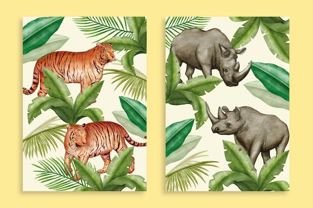 Ręcznie malowane akwarele dzikich zwierząt obejmuje kolekcję