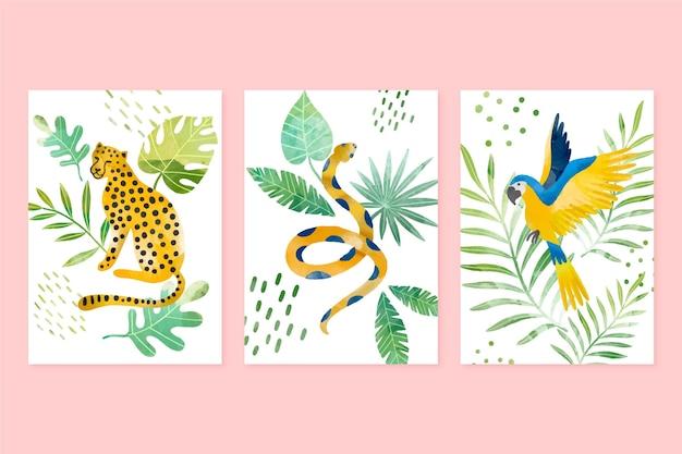 Ręcznie malowane akwarele dzikich zwierząt
