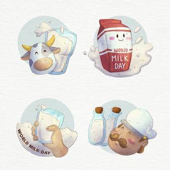 Ręcznie malowane akwarele kolekcji odznaki światowego dnia mleka