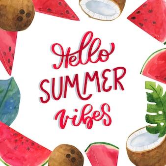 Ręcznie malowane akwarele napis hello summer