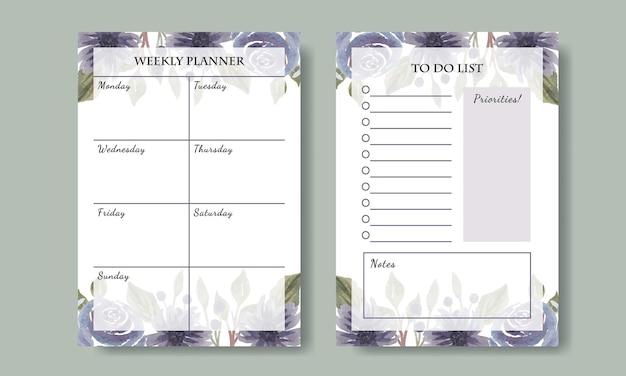 Ręcznie malowane akwarelowe fioletowe kwieciste tygodniowy terminarz listy rzeczy do zrobienia szablon projektu do druku