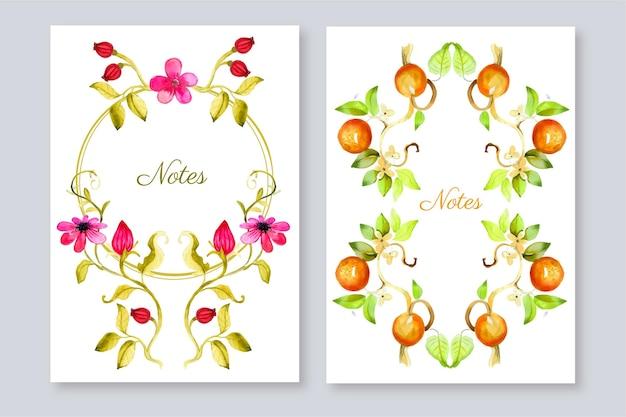 Ręcznie malowane akwarelowe kwiatowe okładki