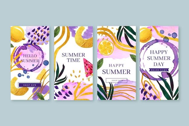 Ręcznie malowane akwarelowe letnie historie na instagramie