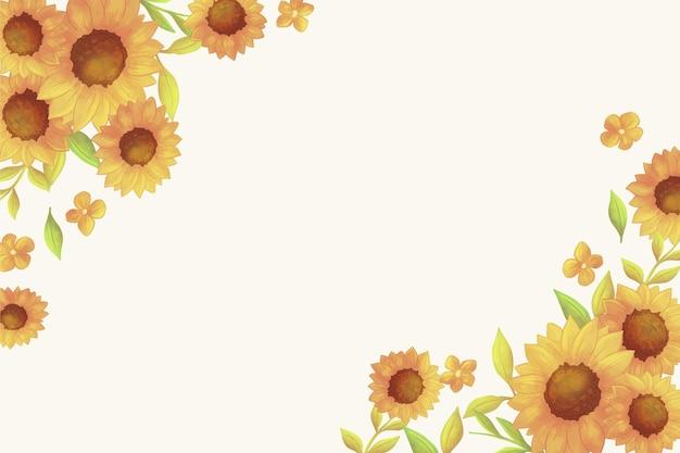 Ręcznie malowane akwarelowe obramowanie słonecznika
