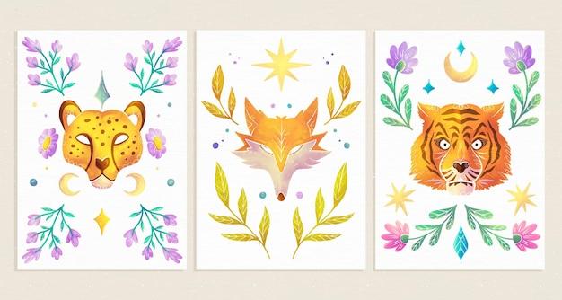 Ręcznie malowane akwarelowe okładki dzikich zwierząt