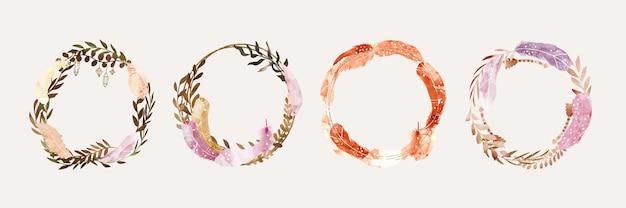 Ręcznie malowane akwarelowe ramki boho