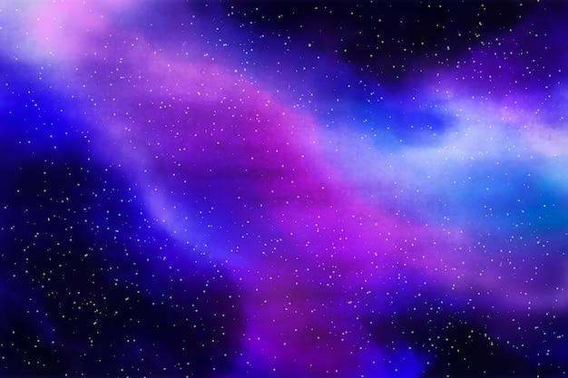 Ręcznie malowane akwarelowe tło galaktyki