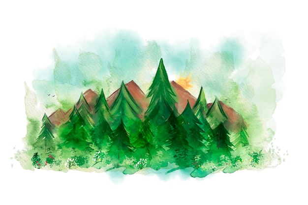 Ręcznie malowane akwarelowe tło natura