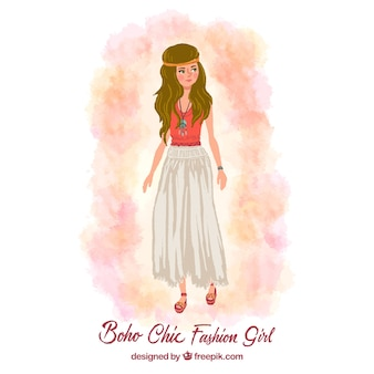 Ręcznie malowane boho-chic dziewczyna