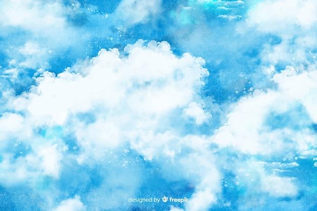 Ręcznie malowane chmury tło