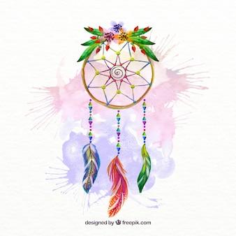 Ręcznie malowane dream catcher plamy akwarela i kwiatów szczegółowo