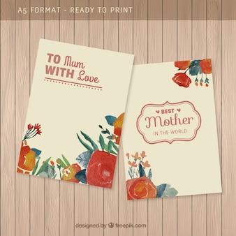 Ręcznie malowane dzień matki karty