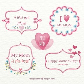 Ręcznie malowane dzień matki piękne etykiety