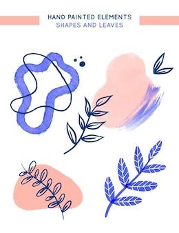 Ręcznie malowane elementy z liśćmi i abstrakcyjnymi kształtami