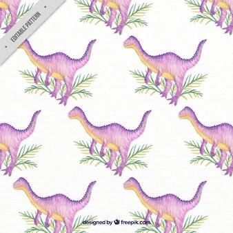 Ręcznie malowane fioletowy dinozaur z liśćmi wzór