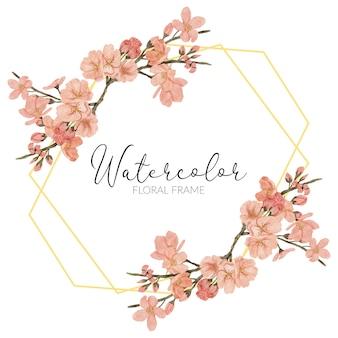 Ręcznie malowane ilustracja kwiat wiśni akwarela wiosna rustykalne złote obramowanie