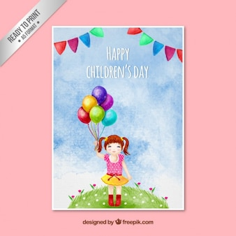 Ręcznie malowane karty dzień szczęśliwy dzieci