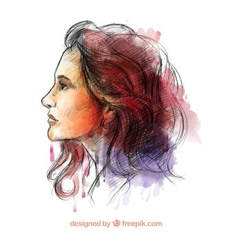 Ręcznie malowane kobieta w kolorowym stylu