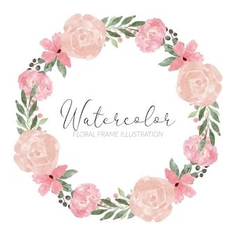 Ręcznie malowane kwiatowy obiekt rama pastelowy bukiet akwarela ilustracja
