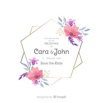 Ręcznie malowane kwiatowy zaproszenie na ślub ramki