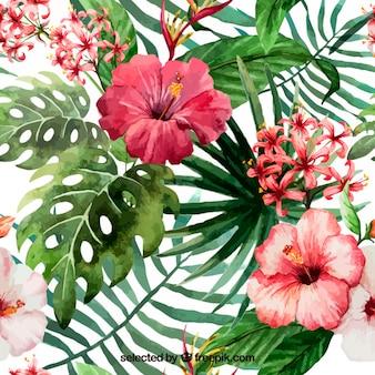 Ręcznie malowane kwiaty tropikalne