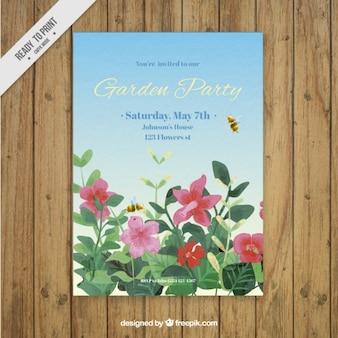 Ręcznie malowane kwiaty z pszczół garden party zaproszenie