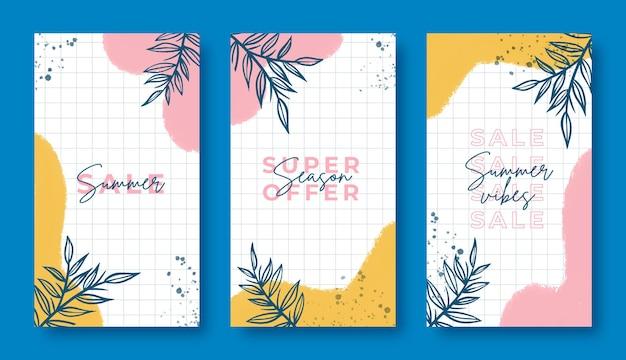 Ręcznie malowane letnie historie na instagramie z namalowanymi plamami i liśćmi