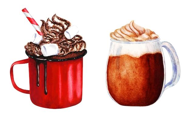 Ręcznie malowane napoje z kawową akwarelową ilustracją