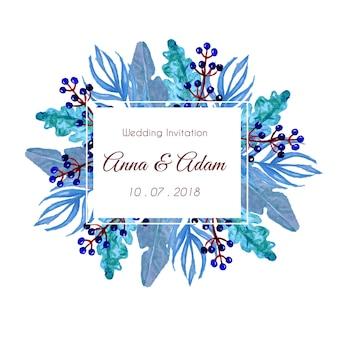 Ręcznie malowane niebieski liść z ramą liści, zaproszenie na ślub