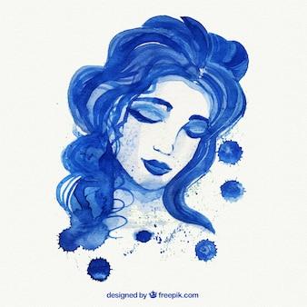 Ręcznie malowane niebieskie kobieta