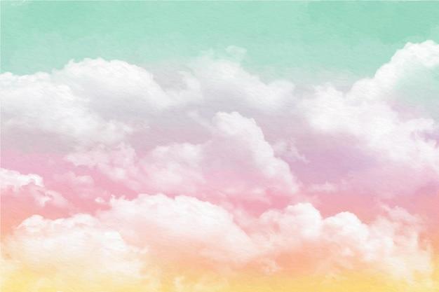Ręcznie malowane pastelowe tło nieba