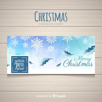 Ręcznie malowane płatki śniegu christmas facebook cover