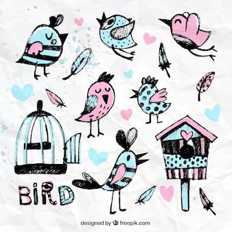 Ręcznie malowane ptaki i klatki