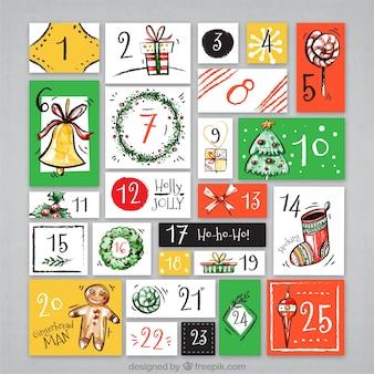 Ręcznie malowane retro kalendarz adwentowy