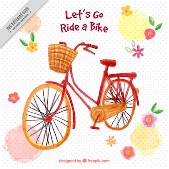 Ręcznie malowane rower z koszem i kwiaty tle