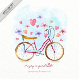 Ręcznie malowane rower z kwiatów i serca