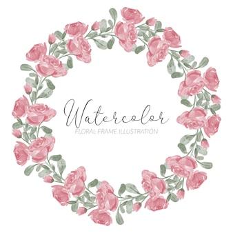 Ręcznie malowane róża kwiatowy rama akwarela koło okrągłe obramowanie z gałęzi
