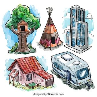 Ręcznie malowane różne domy
