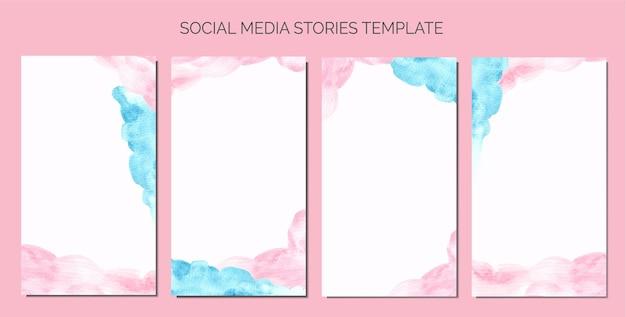 Ręcznie malowane różowe i czerwone abstrakcyjne akwarelowe historie w mediach społecznościowych