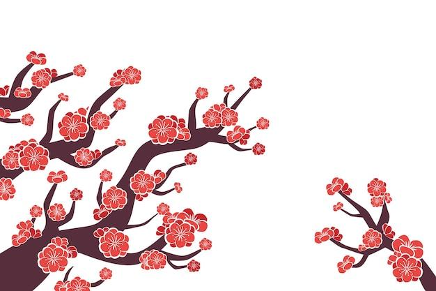Ręcznie malowane różowe tło kwiat śliwki