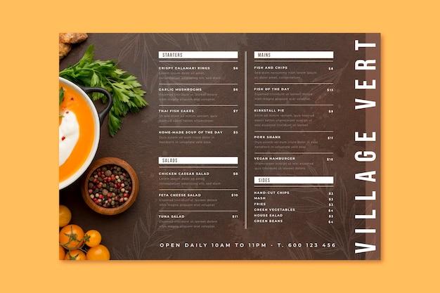 Ręcznie malowane rustykalne menu restauracji ze zdjęciem
