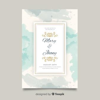 Ręcznie malowane streszczenie szablon zaproszenia ślubne