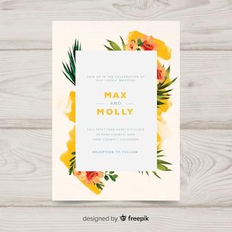 Ręcznie malowane szablon zaproszenia ślubne kwiatowy