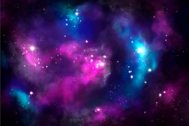 Ręcznie malowane tła galaktyki akwarela