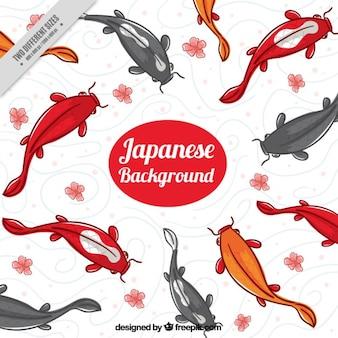 Ręcznie malowane tła japońskie ryby