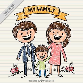 Ręcznie malowane tła szczęśliwa rodzina