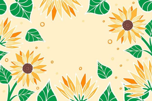 Ręcznie malowane tło słonecznika