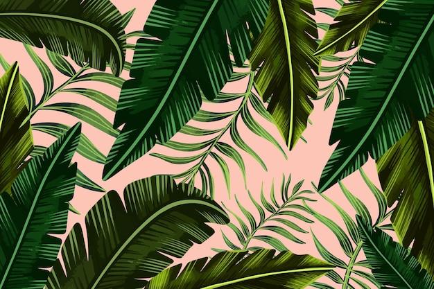Ręcznie malowane tropikalne liście w tle